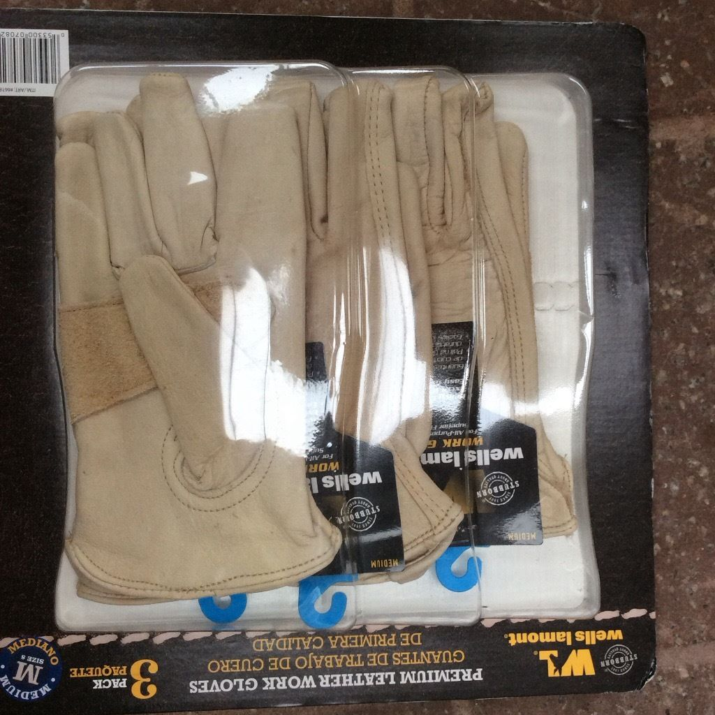 Wells Lamont Premium Leather Work gloves brand new multipack of 3