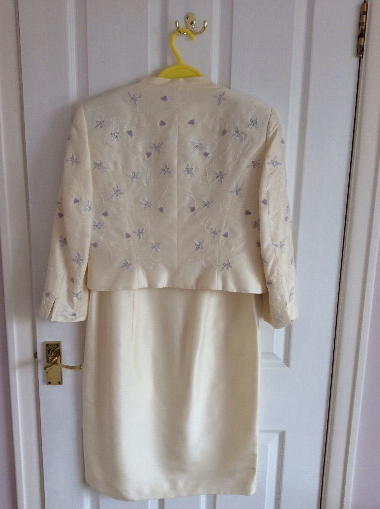 Size 12 Silk dress and jacket with embroidered detail