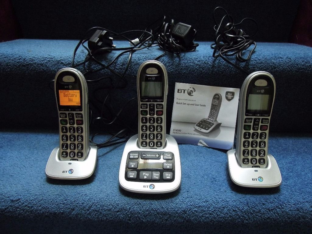 BT 4500 Trio Big Button Digital Cordless Answerphone With Nuisance Call Blocker