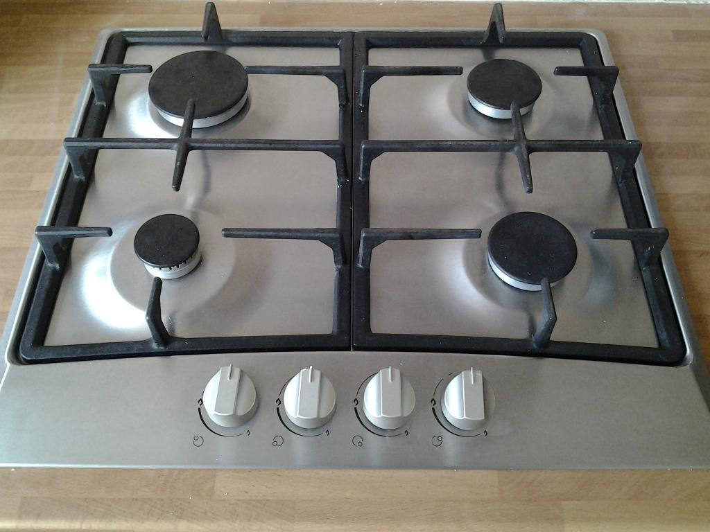 gas hob with cast iron pan supports