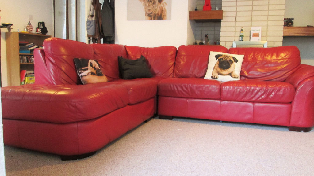 Red Leather Corner Sofa - Used Good Condition