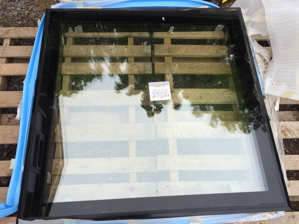 brand new 1m x 1m fixed clear glass roof light.