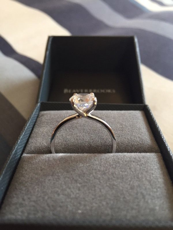 9ct white gold cubic zirconia solitaire ring - size n