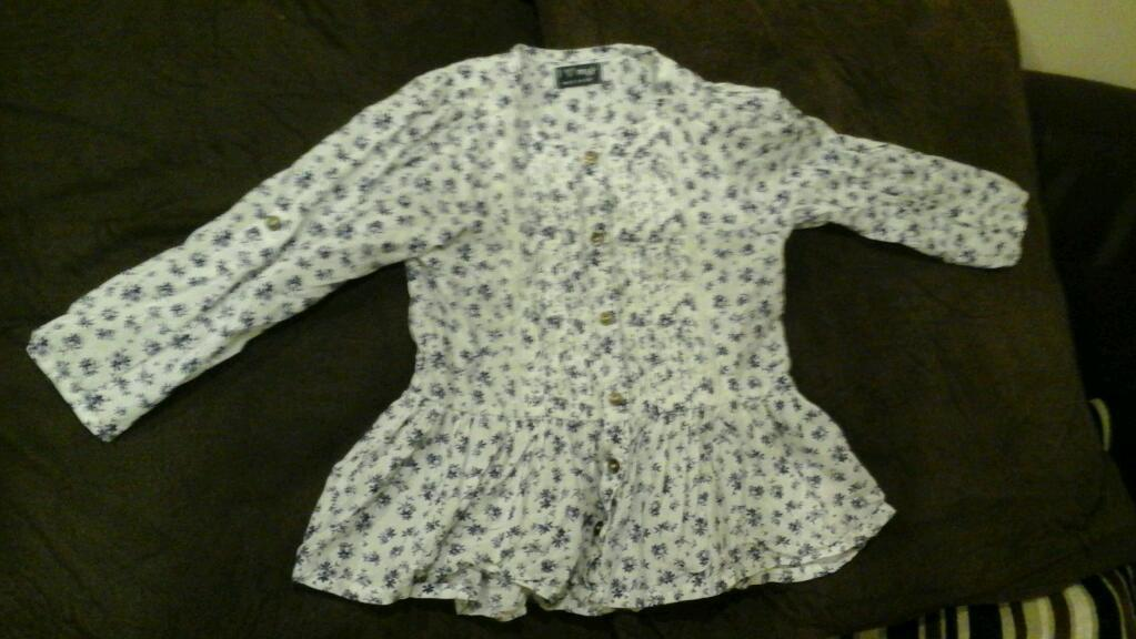 White and blue floral print shirt