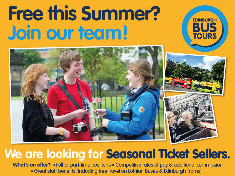 Edinburgh Bus Tours - Ticket Sellers (Summer Season)