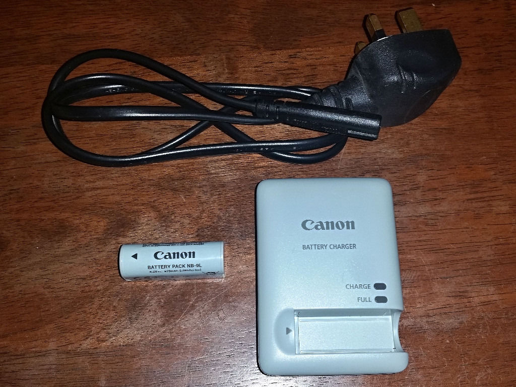 Canon Battery Charger CB-2LBE with Power Lead + Canon Battery Pack NB-9L for IXUS, IXY and PowerShot