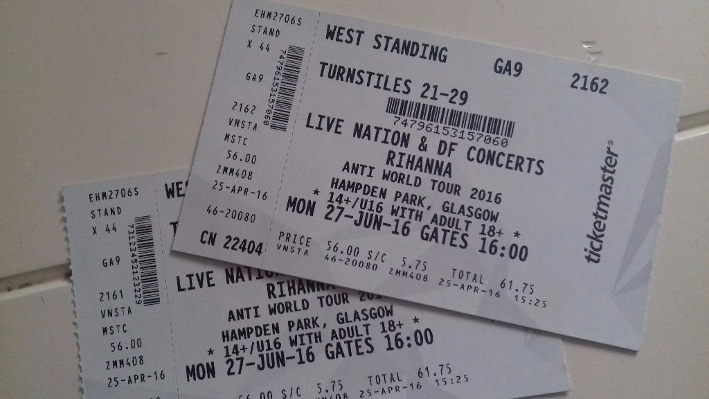 2 x Rihanna Anti World Tour 2016 tickets 27th June 2016 Hampden Park, Glasgow (Standing)
