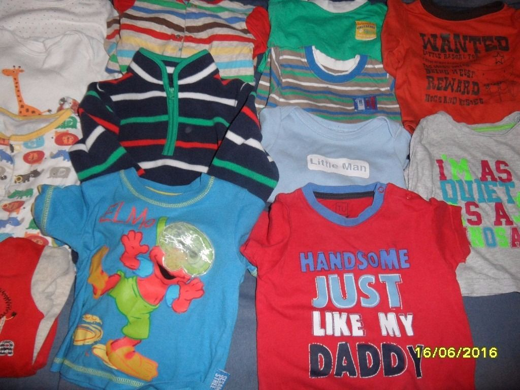 9-12 MONTHS BABY BOYS BUNDLE - VESTS, SLEEPSUITS, TROUSERS, SHORTS, T-SHIRTS & MORE