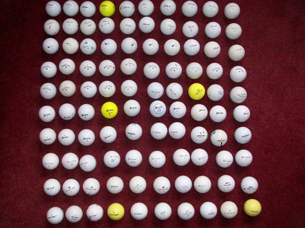 100 Golf Balls including Titleist, Nike, Callaway, Srixon, Top Flite, Pinnacle and many more