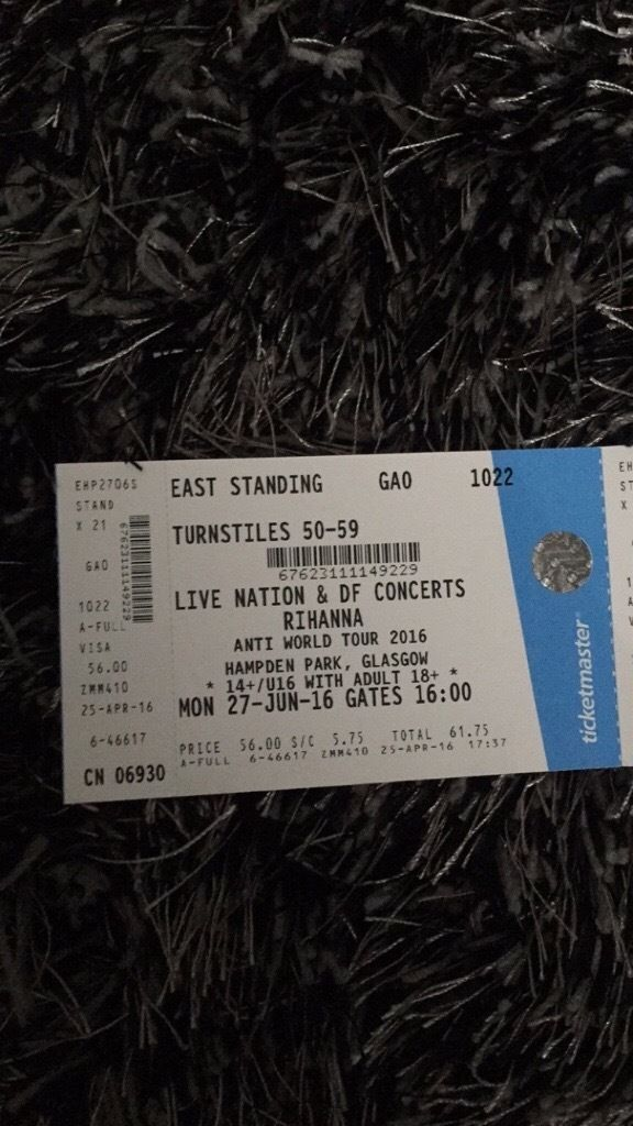 3 Rihanna anti world tour tickets for 27th June 2016 at Glasgow Hampden Park