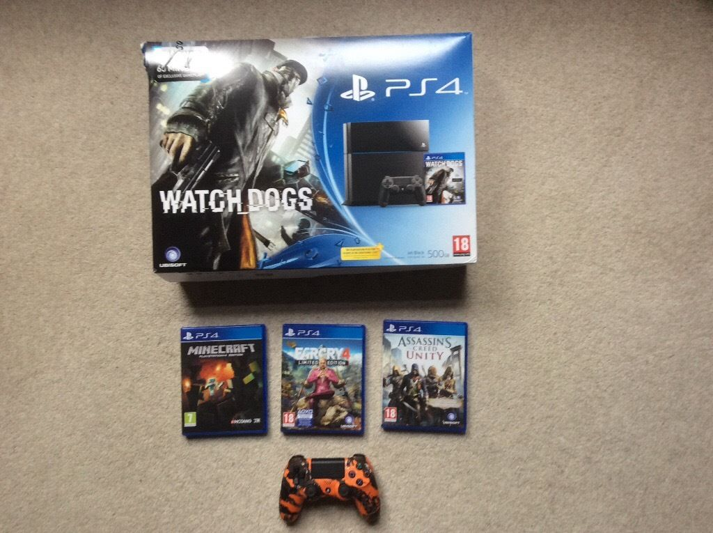 Sony PS4 jet black 500gb limited edition and 4 games