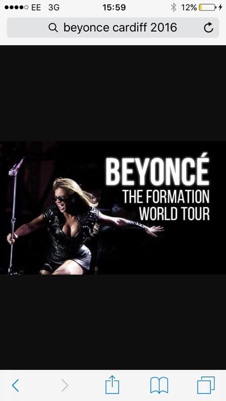 2xseated Beyoncé tickets for cardiff Thursday 30th June