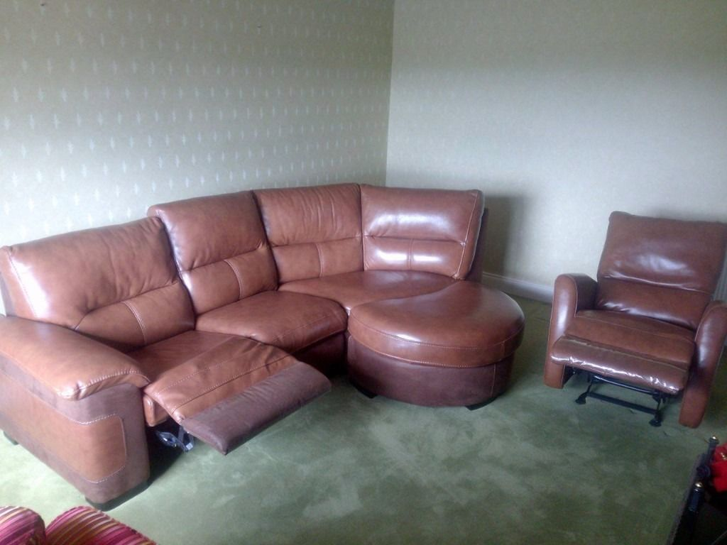 Corona leather corner suite and rocking reclining arm chair