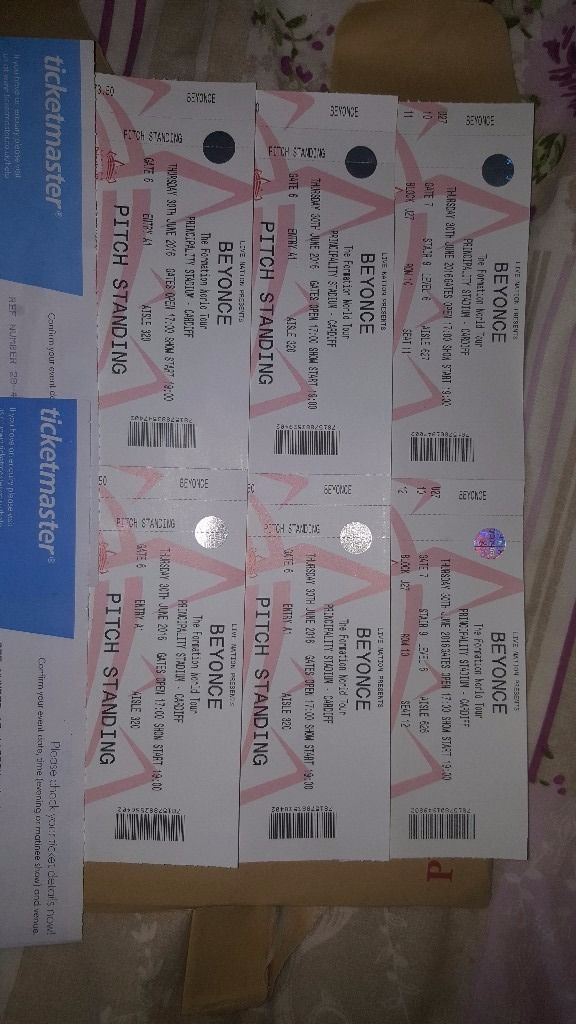 2 seated tickets for Beyonce in Cardiff 30th June