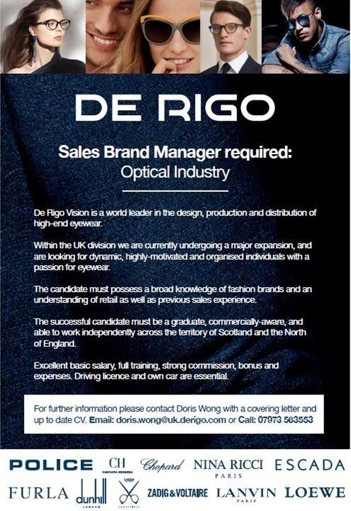 Sales Brand Manager; Optical Industry