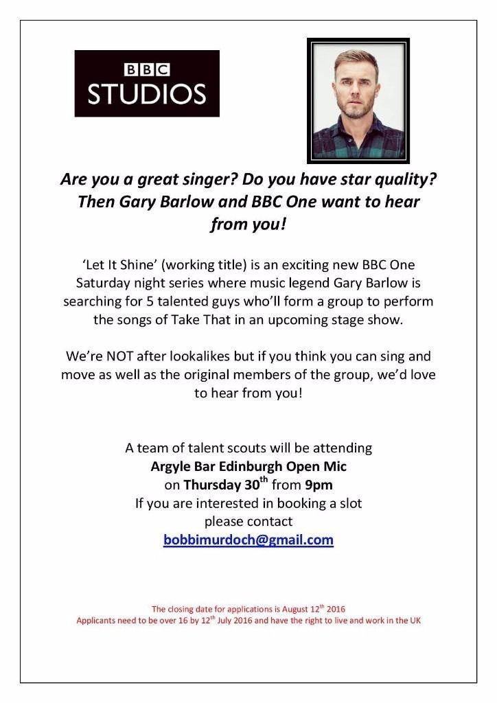Male Singers/Performers Wanted (Open Mic With BBC Scouts)