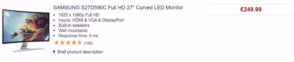 """SAMSUNG S27D590C Full HD 27"""" Curved LED Monitor 1920x1080"""