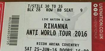 Rihanna tickets Coventry anti world tour cheap tickets!