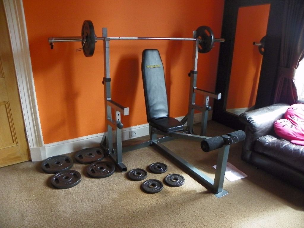 Olympic Bench and Weights - Bodymax - As New Condition - 100KG Weights and 7ft Olympic bar