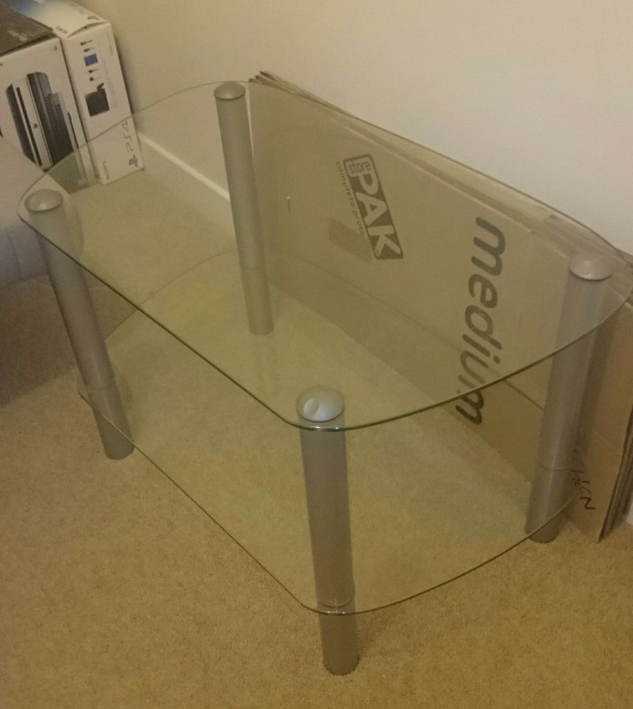 Glass Tv Stand with Brushed Metal Effect Legs