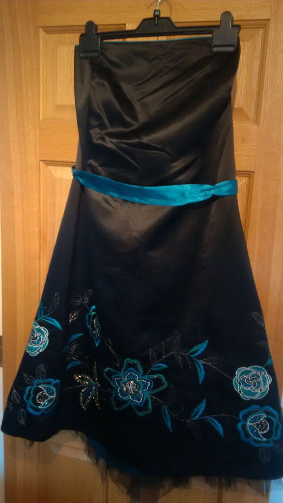 Size 22 Strapless Black Party Dress with Teal Applique and Beads. Brand new with tags