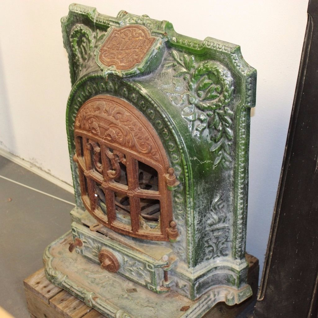 Authentic Antique FRENCH Gallia Ornate Green Enamelled Log Burner Stove imported from Paris