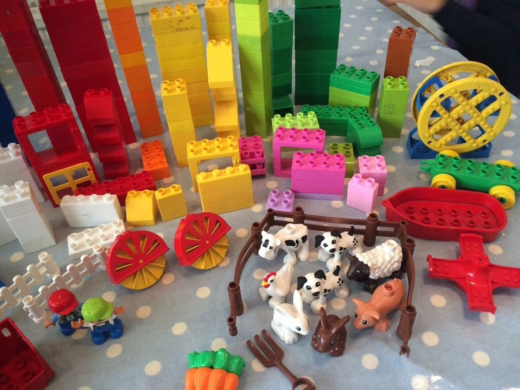 Large bundle of Duplo Lego with Duplo storage box