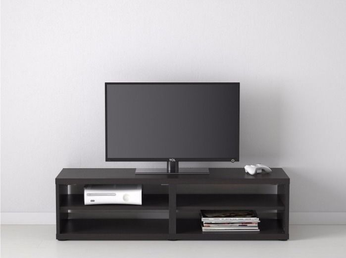 Black ikea besta tv stand with glass top, excellent condition
