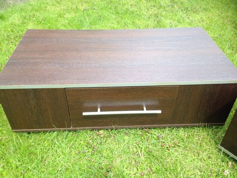 Walnut tv stand / unit / table with draw