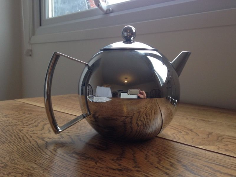Contemporary stainless steel teapot