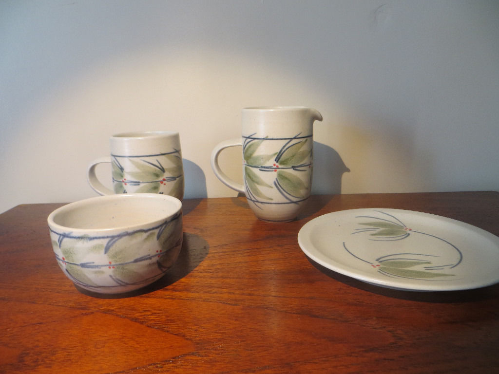 Handmade pottery produced by Potter Louise Darby - Milk Jug, Sugar Bowk, Mug and Side Plate