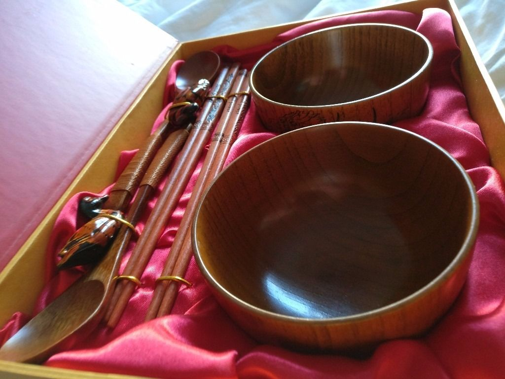Beautiful Wooden Chinese Rice Bowl,Chop Sticks, Spoons & 2 Ducks in a Red & Gold Box - Perfect Gift