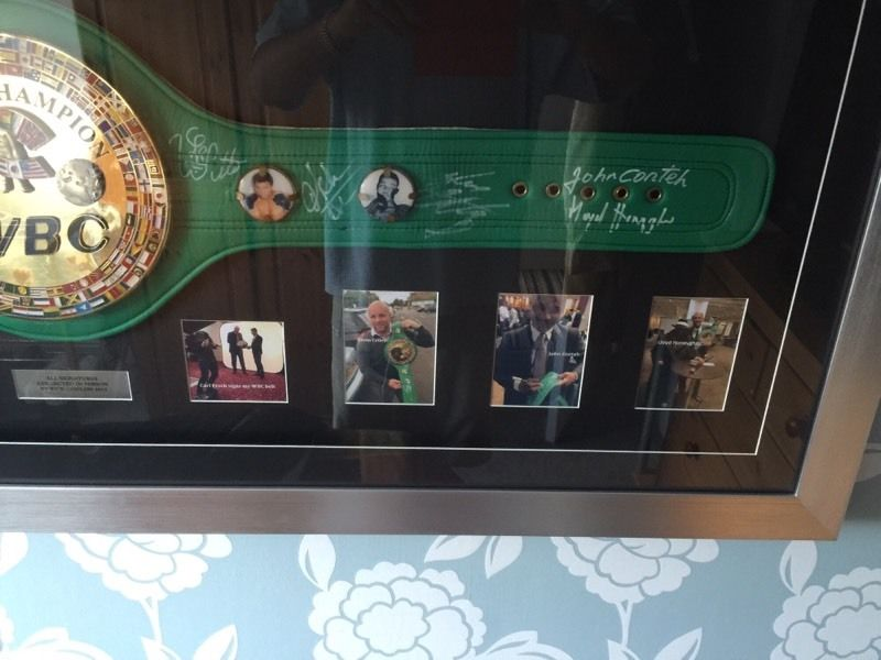Signed, framed WBC boxing belt