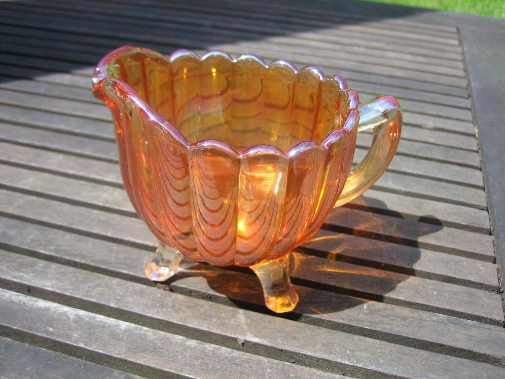 Lovely Vintage Carnival Glass Jug with Tripod Feet
