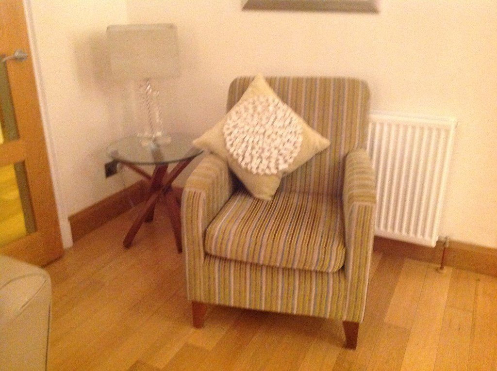 Marks and Spencer stripe lime armchair in chenille fabric