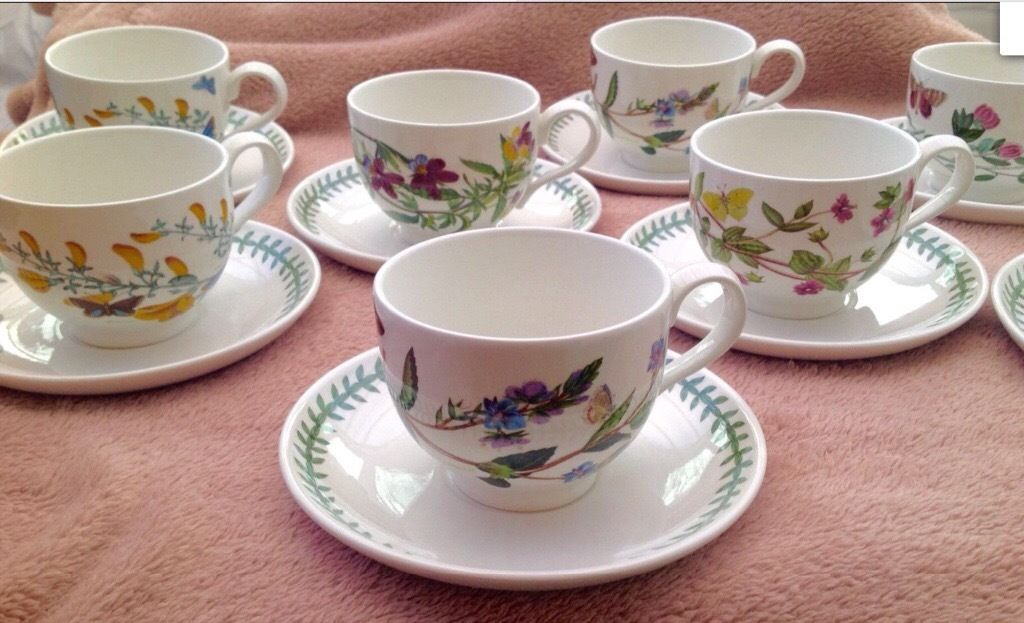 NEW SET OF 8 PORTMEIRION TEA CUPS AND SAUCERS BOTANIC GARDEN COFFEE
