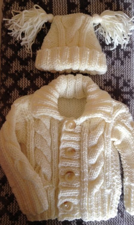 new hand made aran cable cardigan and hat set