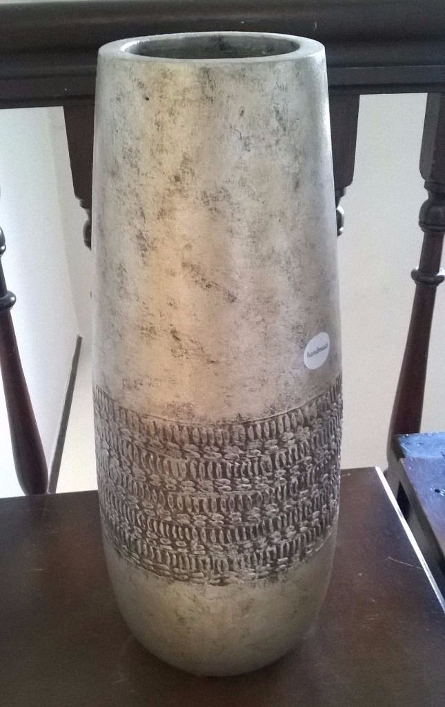 LARGE HEAVY GOLD TERRACOTTA VASE, ANTIQUE DEBOSSED STYLE
