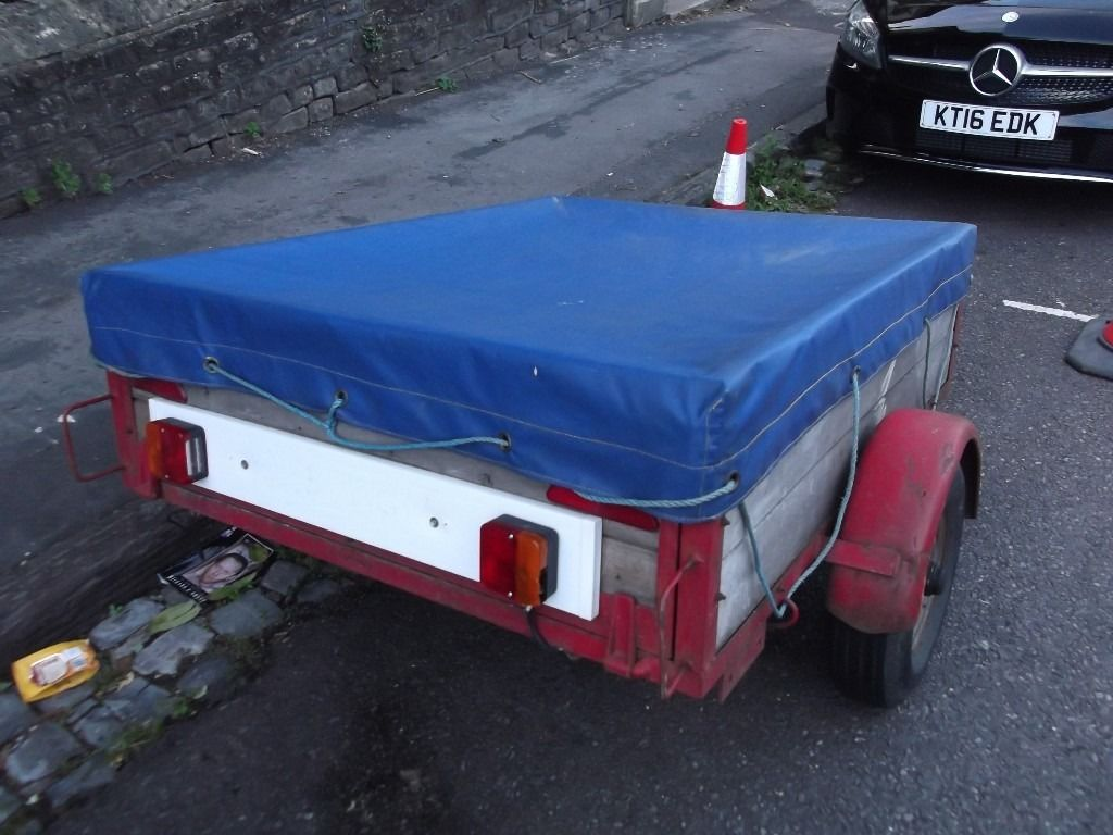 CAR TRAILER ( with cover and drop down back)