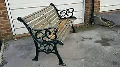 Wanted wooden garden bench with cast sides