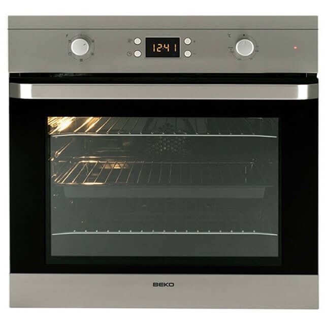 Beko built in electric single oven in stainless steel