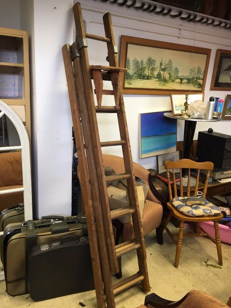 Vintage / Antique 3 Tier Ladders - Top Shelf For Paint Tins Adjustable - Good Condition - MUST GO