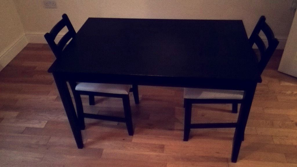 Dark Brown Dining Table with 2 Chairs