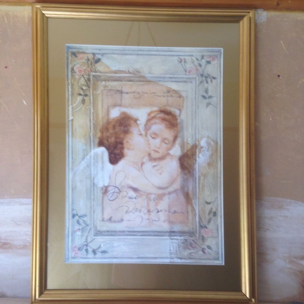Cherub picture with gold frame