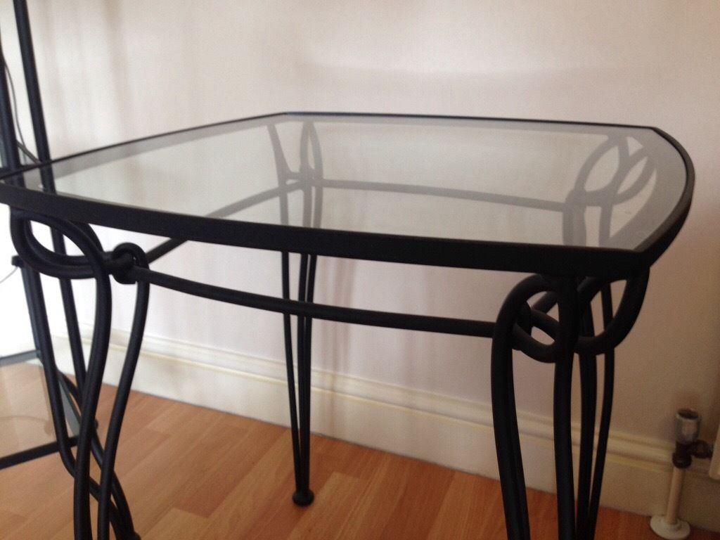 3 Piece Steel and Glass Furniture Set