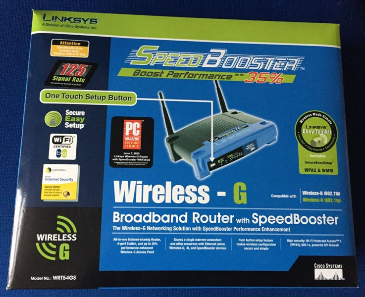 Wireless Router by Linksys (Cisco) WRT54GS Wireless - G Router. 2.4GHz