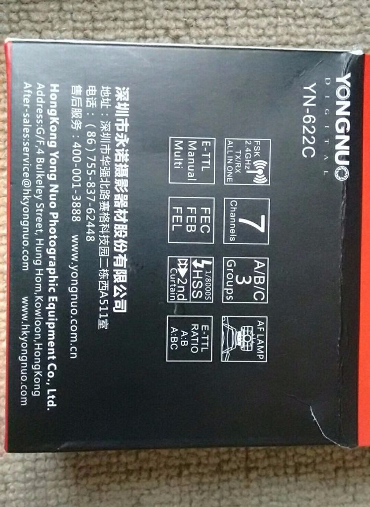 Yongnuo YN-622C Wireless Flash Transceiver (E-TTL) : 7 Channels; 3 groups; High speed sync