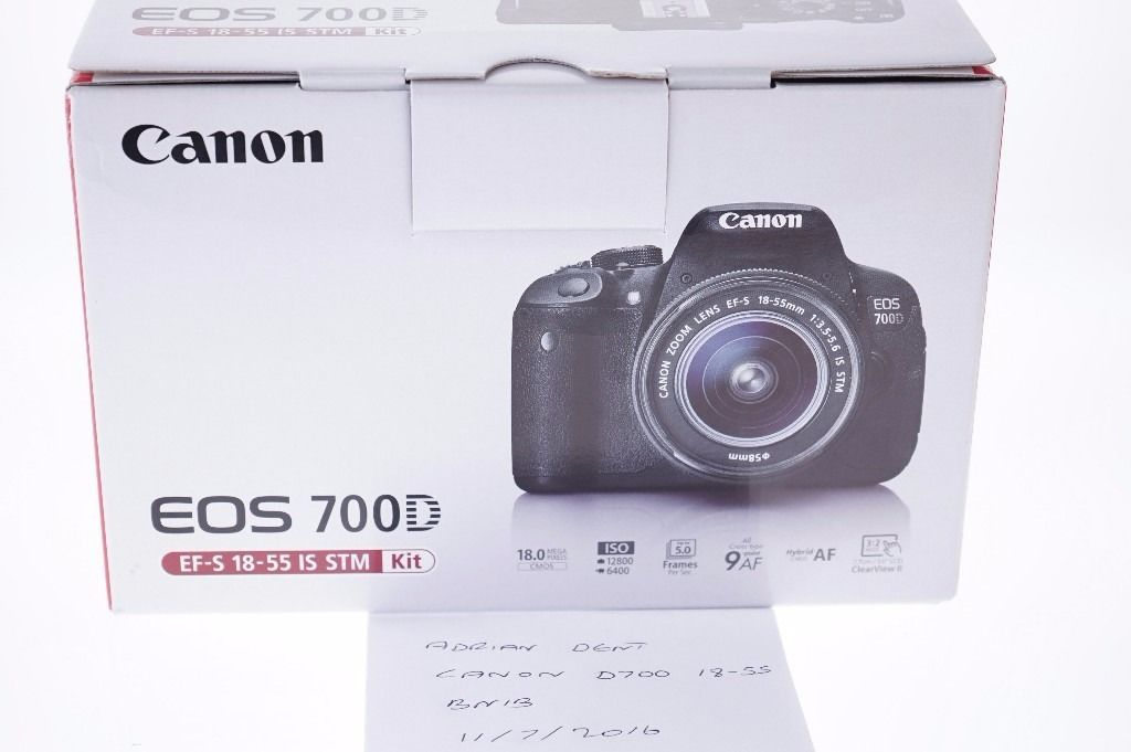 Canon 700D with 18-55mm lens. Brand new, never used.