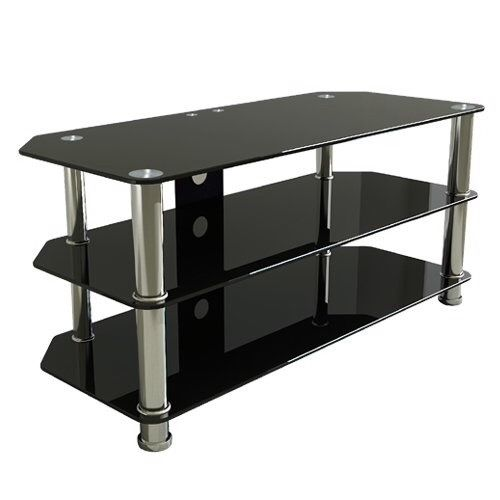 TV Table / Stand, black glass with Chome legs 3 shelves Very good condition