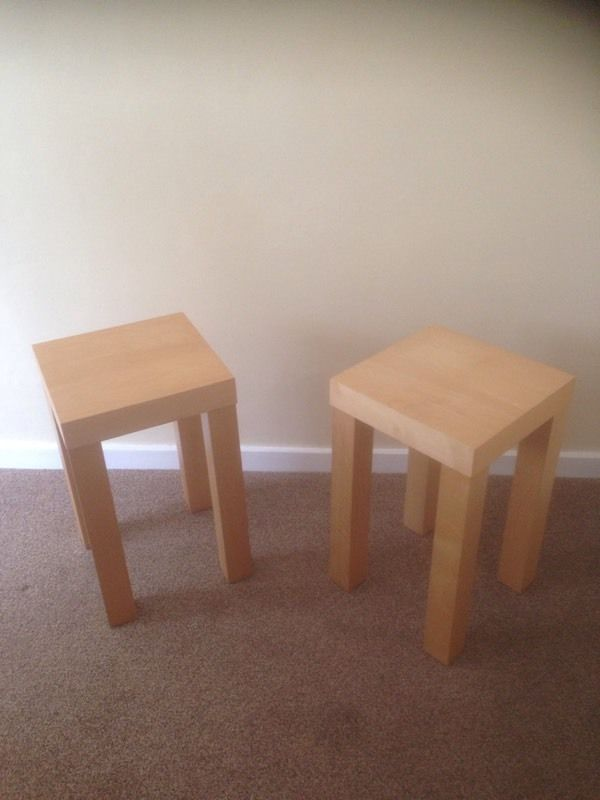 Two small pine effect side tables for sale